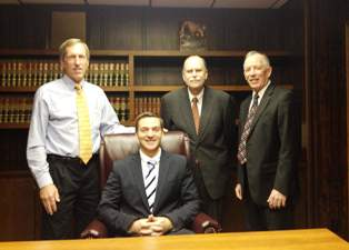 (l-r) Coldwater Mayor Tom Kramer, Ryan Bucklin, Ralph Stevens, and Joe Hayes