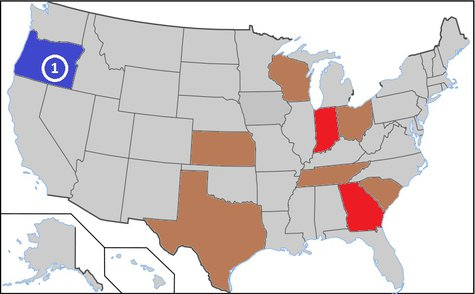 Voter ID laws, as of 2011.Oregon conducts all voting by mail. States in red have had ID requirements since 2008. States in brown have had ID requirements since 2011.  By Screwball23 (Own work) [CC-BY-SA-3.0 (http://creativecommons.org/licenses/by-sa/3.0)], via Wikimedia Commons