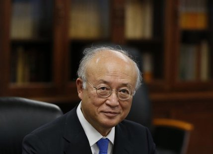 International Atomic Energy Agency (IAEA) Director General Yukiya Amano attends a meeting with Japan's Economy, Trade and Industry Minister
