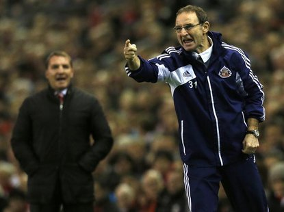 Sunderland's manager Martin O'Neill instructs his team during their English Premier League soccer match against Liverpool at Anfield in Live
