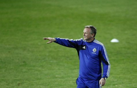 Northern Ireland coach Michael O'Neill attends a training session ahead of their 2014 World Cup qualifying soccer match against Azerbaijan i