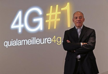 France Telecom-Orange Chairman and CEO Stephane Richard poses before a news conference to launch the Orange 4G network in Paris September 9,