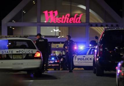 Police secure the area after reports that a gunman fired shots at the Garden State Plaza mall in Paramus, New Jersey, November 4, 2013. REUTERS/Ray Stubblebine