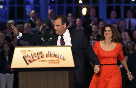 Republican New Jersey Governor Chris Christie takes the stage with his wife Mary Pat at his election night party in Asbury Park, New Jersey,