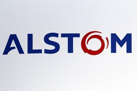 The logo of French power and transport engineering company Alstom is pictured during a news conference to present the company's 2011-2012 an