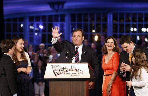 Republican New Jersey Governor Chris Christie addresses his supporters at his election night party in Asbury Park, New Jersey, November 5, 2