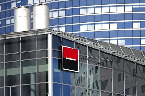 The logo of French bank Societe Generale is seen on a building in the financial district of La Defense near Paris August 1, 2013. REUTERS/Be