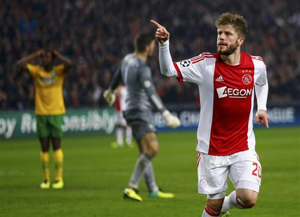 Ajax Amsterdam's Lasse Schone celebrates his goal against Celtic during their Champions League soccer match at Amsterdam Arena November 6, 2