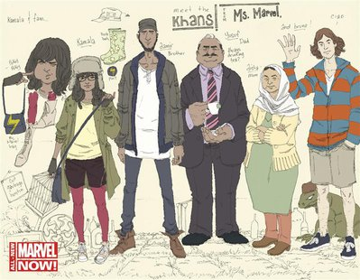 A new Marvel Comics cover shows Ms Marvel as Kamala Khan (2nd L), the 16-year-old daughter of Pakistani immigrants, in this undated handout