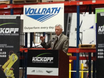 Congressman Tom Petri speaks at Vollrath to help promote efforts to increase the number of manufacturing employees.