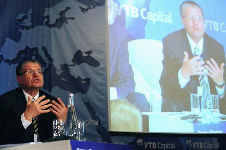 Alexey Ulyukayev, First Chairman of the Central Bank of Russia, speaks during a panel discussion at the VTB Capital investment conference in