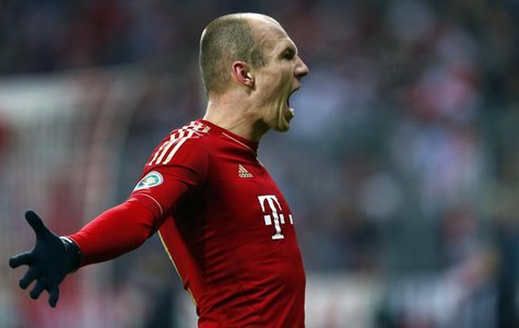 Arjen Robben of Bayern Munich celebrates his goal against Borussia Dortmund during their German soccer cup, DFB Pokal, quarter-final soccer