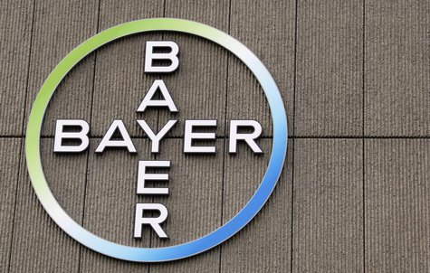 The logo of Germany's largest drugmaker Bayer HealthCare Pharmaceuticals is pictured on the front of its building in Berlin April 28, 2011.
