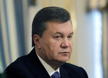 Ukrainian President Viktor Yanukovich is seen during his meeting with European Commissioner for Enlargement and European Neighbourhood Polic