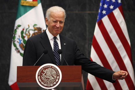 U.S. Vice President Joe Biden gestures after a meeting with Mexico's President Enrique Pena Nieto at Los Pinos Presidential Residence in Mex