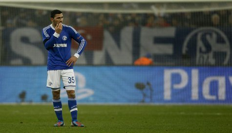 Schalke 04's Sead Kolasinac reacts during the Champions League soccer match against Galatasaray in Gelsenkirchen March 12, 2013. REUTERS/Ina