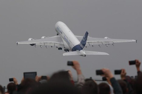 An Airbus A380 plane takes off during a demonstration flight at the MAKS International Aviation and Space Salon in Zhukovsky, outside Moscow