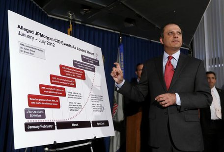 U.S. Attorney for the Southern District of New York Preet Bharara points to a chart during a news conference announcing the unsealing of cha