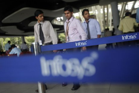 Employees of Indian software company Infosys walk past Infosys logos at their campus in the Electronic City area in Bangalore September 4, 2