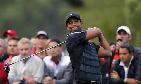 Tiger Woods of the U.S. tees off on the fourth hole during the inaugural Turkish Airlines Open in the south west city of Antalya November 7,