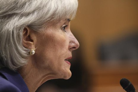 "U.S. Health and Human Services Secretary Kathleen Sebelius testifies before a Senate Finance Committee hearing on ""Health Insurance Exchange"