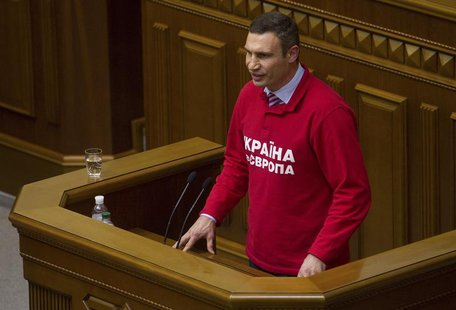 Ukrainian heavyweight boxer and opposition politician Vitaly Klitschko addresses parliament in Kiev, October 24, 2013. REUTERS/Valentyn Ogir
