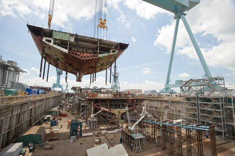 The superlift erected on the aircraft carrier Gerald R. Ford (CVN 78) is one of the heaviest Newport News Shipbuilding will construct and li