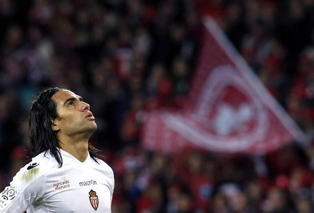 AS Monaco's Radamel Falcao reacts at the end of his match against Lille during his French Ligue 1 soccer match at the Pierre Mauroy Stadium