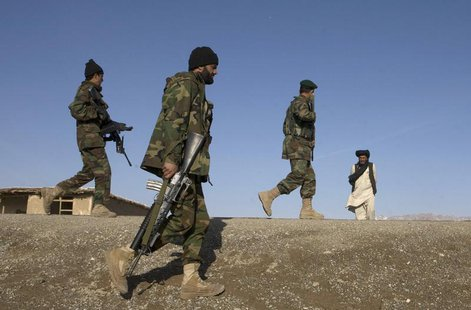Afghan National Army soldiers walk on patrol in the town of Shah joy in Zabul province, southern Afghanistan, February 12, 2010. REUTERS/Baz