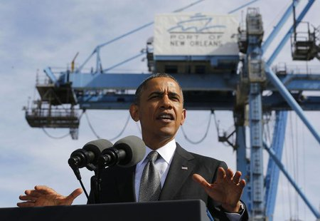 U.S. President Barack Obama talks about the importance of growing the U.S. economy while at the Port of New Orleans in Louisiana, November 8