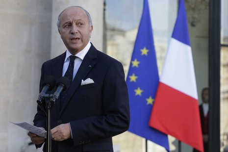 French Foreign Affairs Minister Laurent Fabius speaks to journalists following a meeting at the Elysee Palace in Paris November 3, 2013. REU