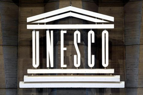 The logo of UNESCO is seen inside the headquarters in Paris, September 29, 2003.