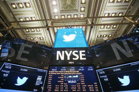 The Twitter Inc. logo is displayed on screens prior to its IPO on the floor of the New York Stock Exchange in New York, November 7, 2013. RE