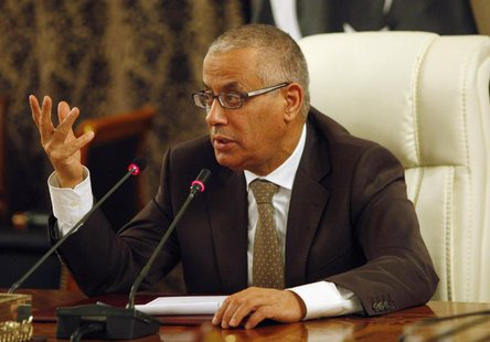 Libya's Prime Minister Ali Zeidan speaks during a joint news conference at the headquarters of the Prime Minister's Office in Tripoli, Novem