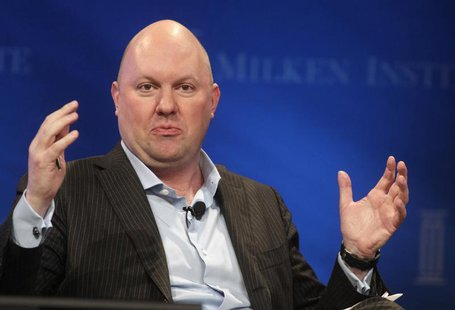 "Marc Andreessen, co-founder and partner of Andreessen Horowitz, speaks during the panel discussion ""In Tech We Trust? A Debate with Peter Th"