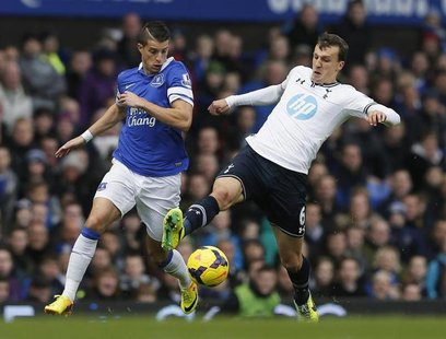 Tottenham Hotspur's Vlad Chiriches (R) challenges Everton's Kevin Mirallas during their English Premier League soccer match at Goodison Park