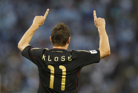 Germany's Miroslav Klose celebrates his goal during the 2010 World Cup quarter-final soccer match against Argentina at Green Point stadium i