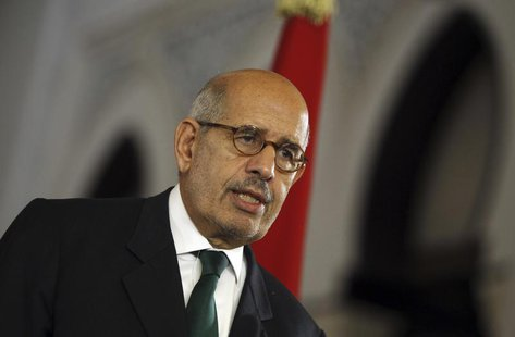 Egypt's interim Vice President Mohamed ElBaradei speaks during a news conference with European Union foreign policy chief Catherine Ashton (