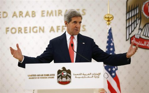 U.S. Secretary of State John Kerry speaks at a news conference with UAE Foreign Minister Abdullah bin Zayed Al Nahyan (not pictured) at the