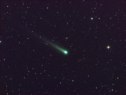 Comet ISON is seen in this five-minute exposure taken at NASA's Marshall Space Flight Center (MSFC) on November 8 at 5:40 a.m. EST (1040 GMT