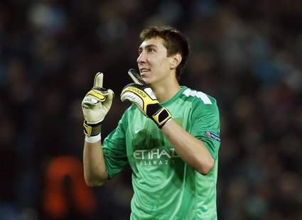 Manchester City's Costel Pantilimon reacts after their Champions League soccer match against CSKA Moscow at the Etihad Stadium in Manchester