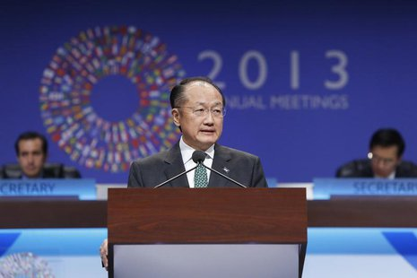 World Bank President Jim Yong Kim addresses the plenary session at the start of the annual IMF-World Bank fall meetings in Washington, Octob