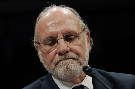 Former MF Global CEO Jon Corzine frowns as he testifies before a House Financial Services Committee Oversight and Investigations Subcommitte