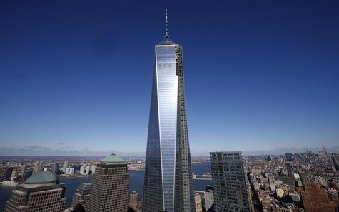 The One World Trade Center tower is seen in this picture taken from the 57th floor of the soon to be opened 4 World Trade Center tower in Ne