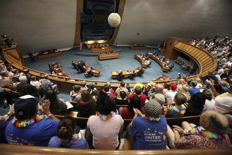 The Hawaii State Senate convenes to approve the bill allowing same sex marriage to be legal in the state of Hawaii in Honolulu, November 12,