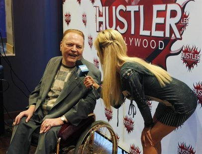 Publisher Larry Flynt, president of Larry Flynt Publications is interviewed at induction ceremonies for adult film stars and producers John