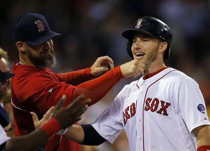 Boston Red Sox's David Ross (L) pulls on the beard of teammate Stephen Drew after Drew hit a two-run, home run against the Baltimore Orioles
