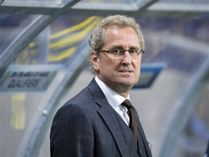 Sweden's coach Erik Hamren is pictured before his team's 2014 World Cup qualifying soccer match against Germany at Friends Arena in Stockhol