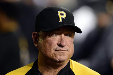 St. Louis, MO, USA; Pittsburgh Pirates manager Clint Hurdle (13) in game five of the National League divisional series playoff baseball game