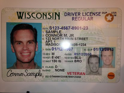Wisconsin driver license with veteran identifier